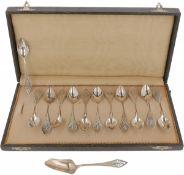(12) Piece set of coffee spoons & sugar scoop silver.