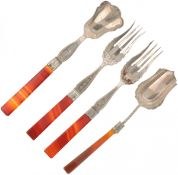 (4) Piece lot of scoops and forks with agate handles silver.