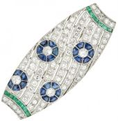Platinum Art Deco brooch set with approx. 3.63 ct. diamond, natural sapphire and emerald - Pt 950.