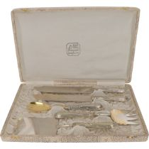 (5) piece serving set Alpacca in original  case.