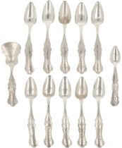 (12) piece lot of coffee spoons & tea thumb silver.