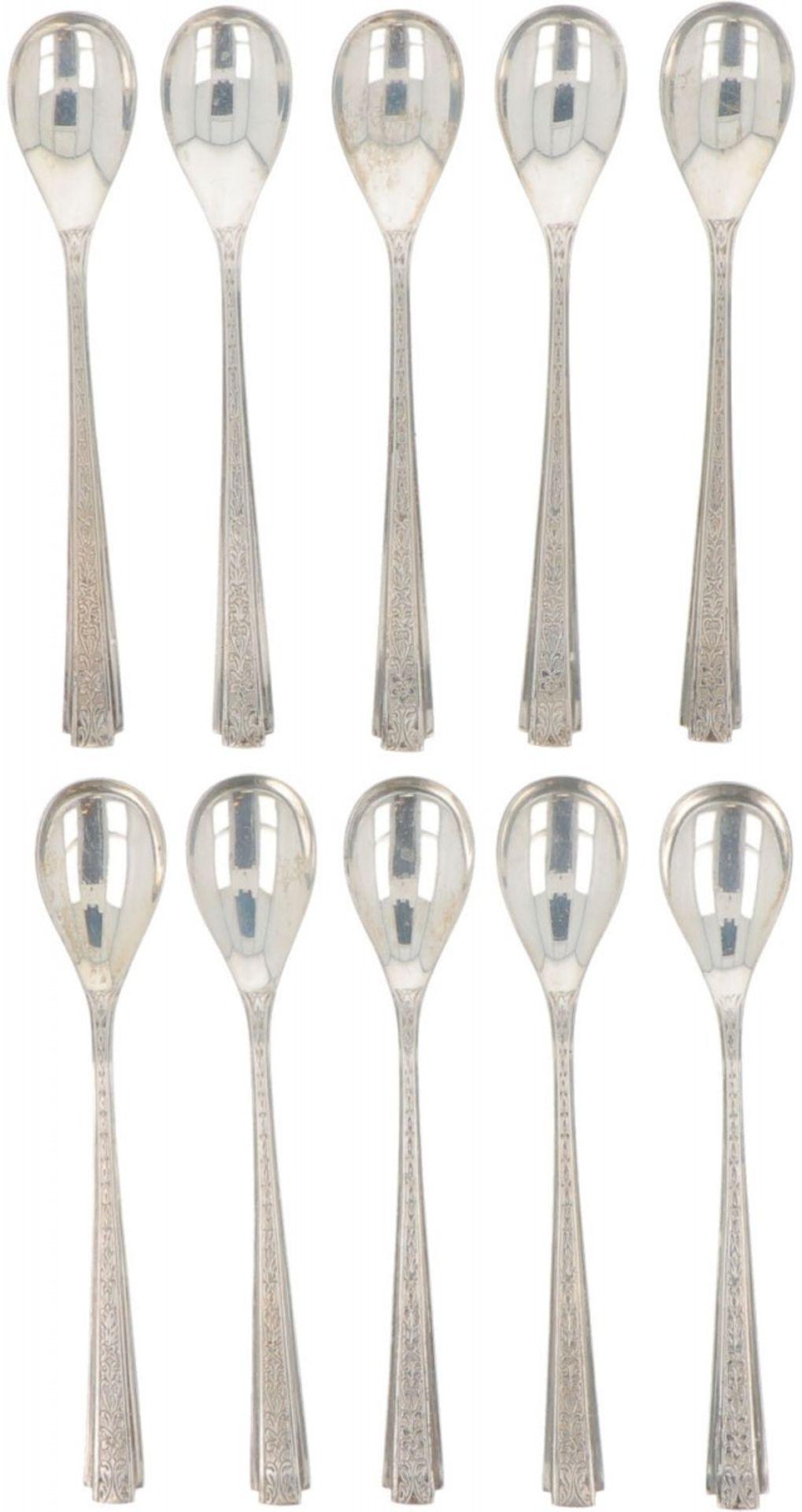 (10) piece set of silver teaspoons.