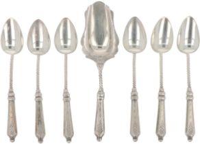 (7) piece set of coffee spoons & sugar scoop, silver.