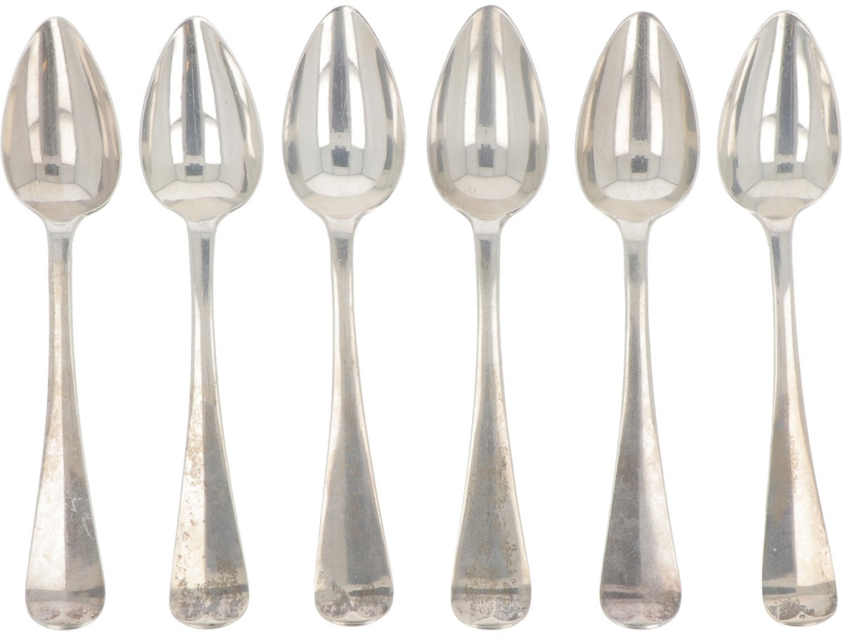 """(6) piece set coffee spoons """"Haags Lofje"""" silver."""