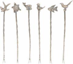 (6) piece set of cocktail sticks, silver.