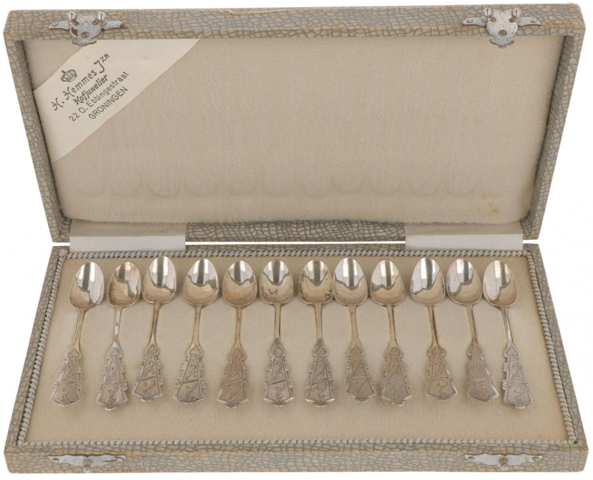 (12) piece set of silver coffee spoons.