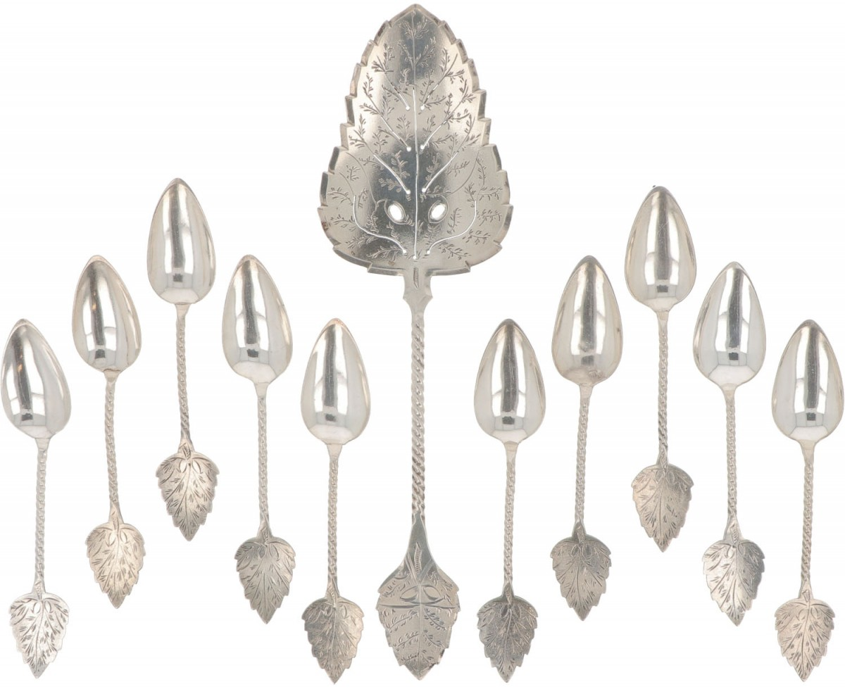 (11) Set of cake server and coffee spoons silver.