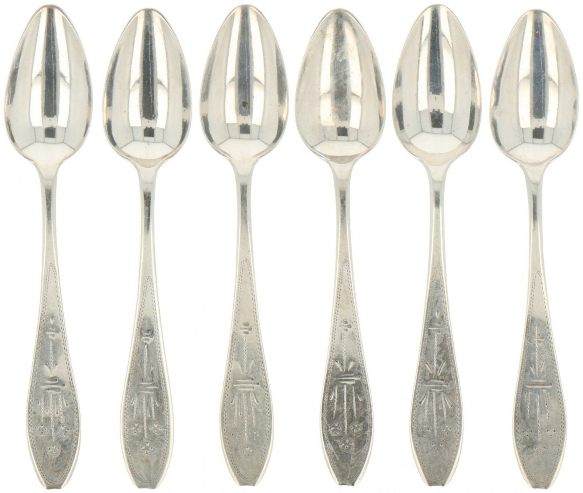 (6) piece set coffeespoons silver.