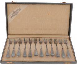 (12) piece set of cake forks silver.