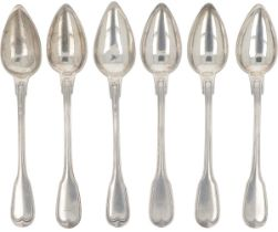 (6) piece set of ice cream spoons silver.
