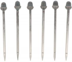(6) piece set of cocktail picks, silver.
