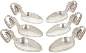 (6) piece set amuse spoons silver.