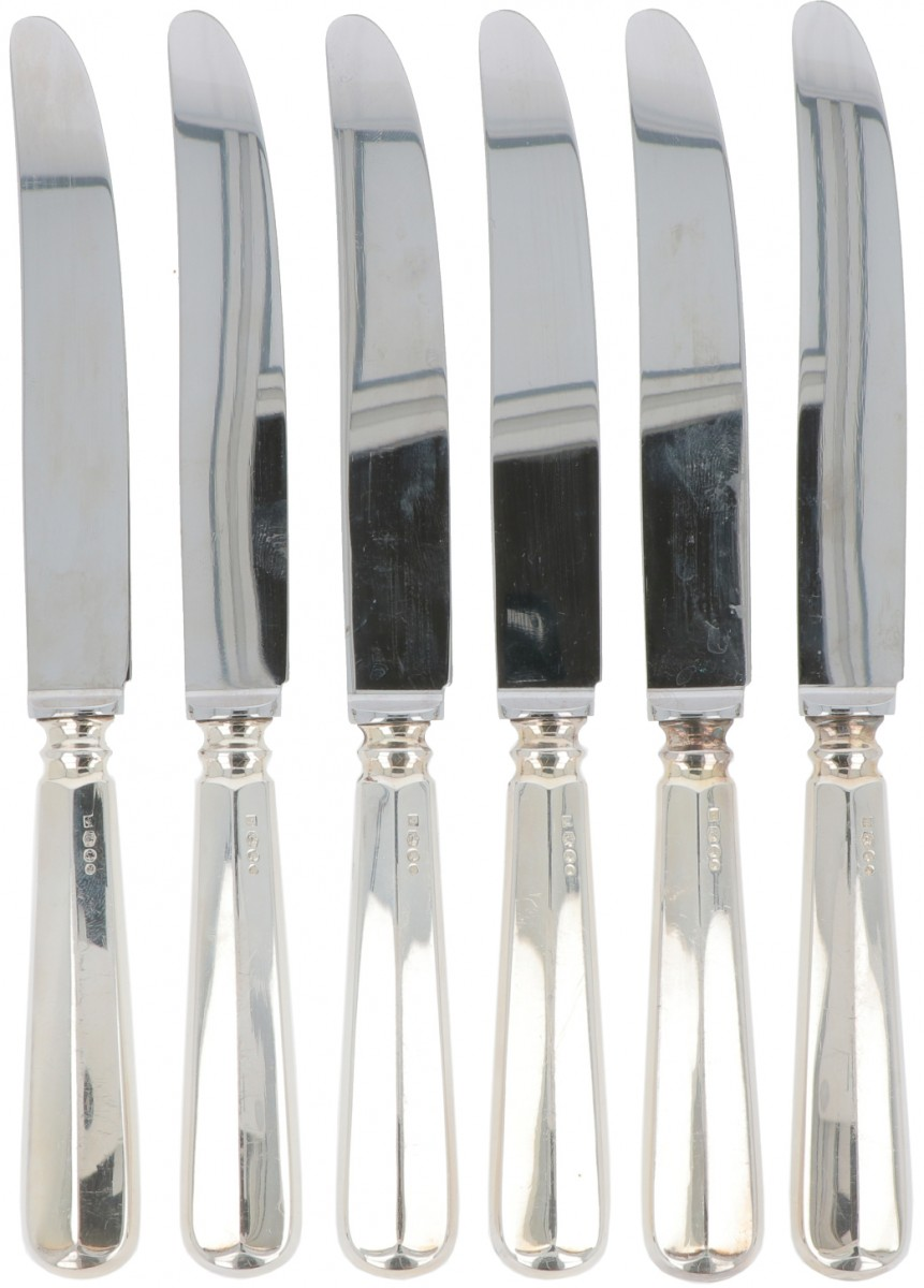 """(6) piece lot of dinner knives """"Haags Lofje"""" silver."""
