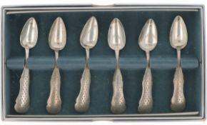 (6) piece set of silver coffee spoons.