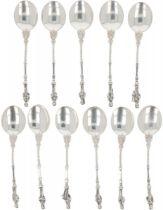 (11) piece set Apostle teaspoons silver.