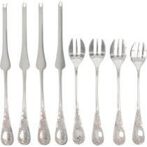 (8) piece set of silver fish cutlery.