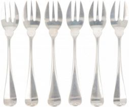 """(6) piece lot of cake forks """"Haags Lofje"""" silver."""