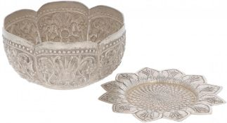 (2) piece lot comprising bowl and coaster silver.