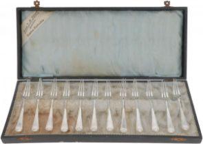 (12) piece set strawberry forks silver.