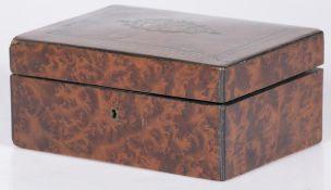 A walnut veneered trinket box, ca. 1900.