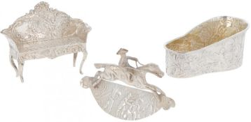 (3) piece lot miniatures silver.