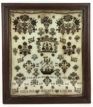 (Antiek) Merklap 1829 Geborduurde ingelijste merklap, gedateerd 1829. Conditie: Verkleuring in