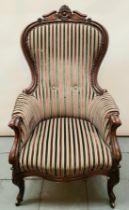 (Antiek) Fauteuil Mahoniehouten Beidermeier fauteuil met gestreepte bekleding en gestoken kroon
