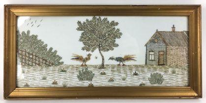 (Kunst) Postzegeltableau, G.J. van Bilderbeek Van postzegel knipsels in elkaar geplakt tafereel
