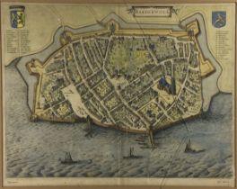 (Antiek) Stadsplattegrond Harderwijk Stadsplattegrond van Harderwijk in 1649, uitgegeven door J
