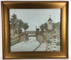 (Kunst) Postzegeltableau, G.J. van Bilderbeek Van postzegel knipsels in elkaar geplakt dorpsgez