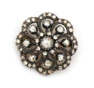 A 14 karat gold and silver rose cut diamond cluster brooch