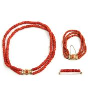 A Collection of Red Coral Jewelry