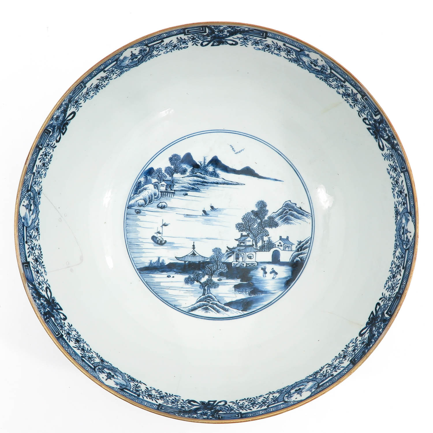 A Large Blue and White Bowl - Image 5 of 9