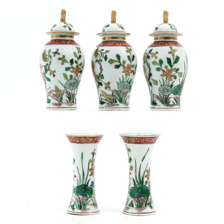 A Set of 5 Garniture Vases - Image 2 of 9