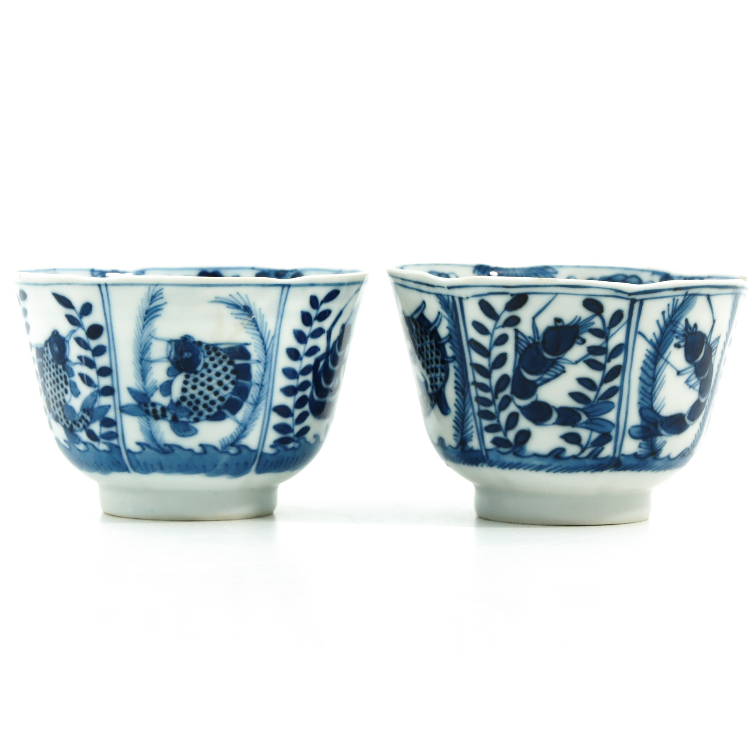 A Pair of Blue and White Cups and Saucers - Image 2 of 9