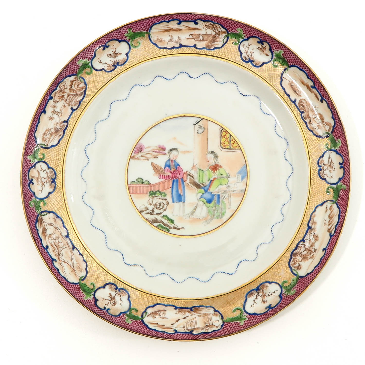 A Pair of Polychrome Decor Plates - Image 3 of 9