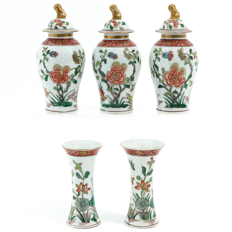 A Set of 5 Garniture Vases