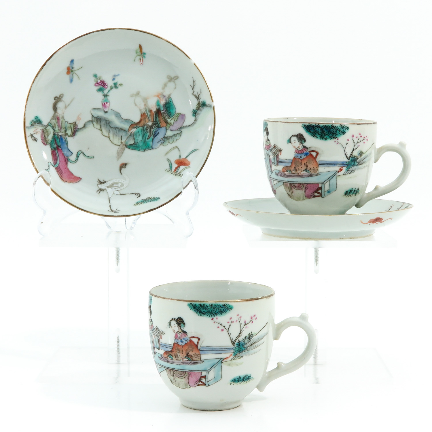 A Pair of Famille Rose Cups and Saucers