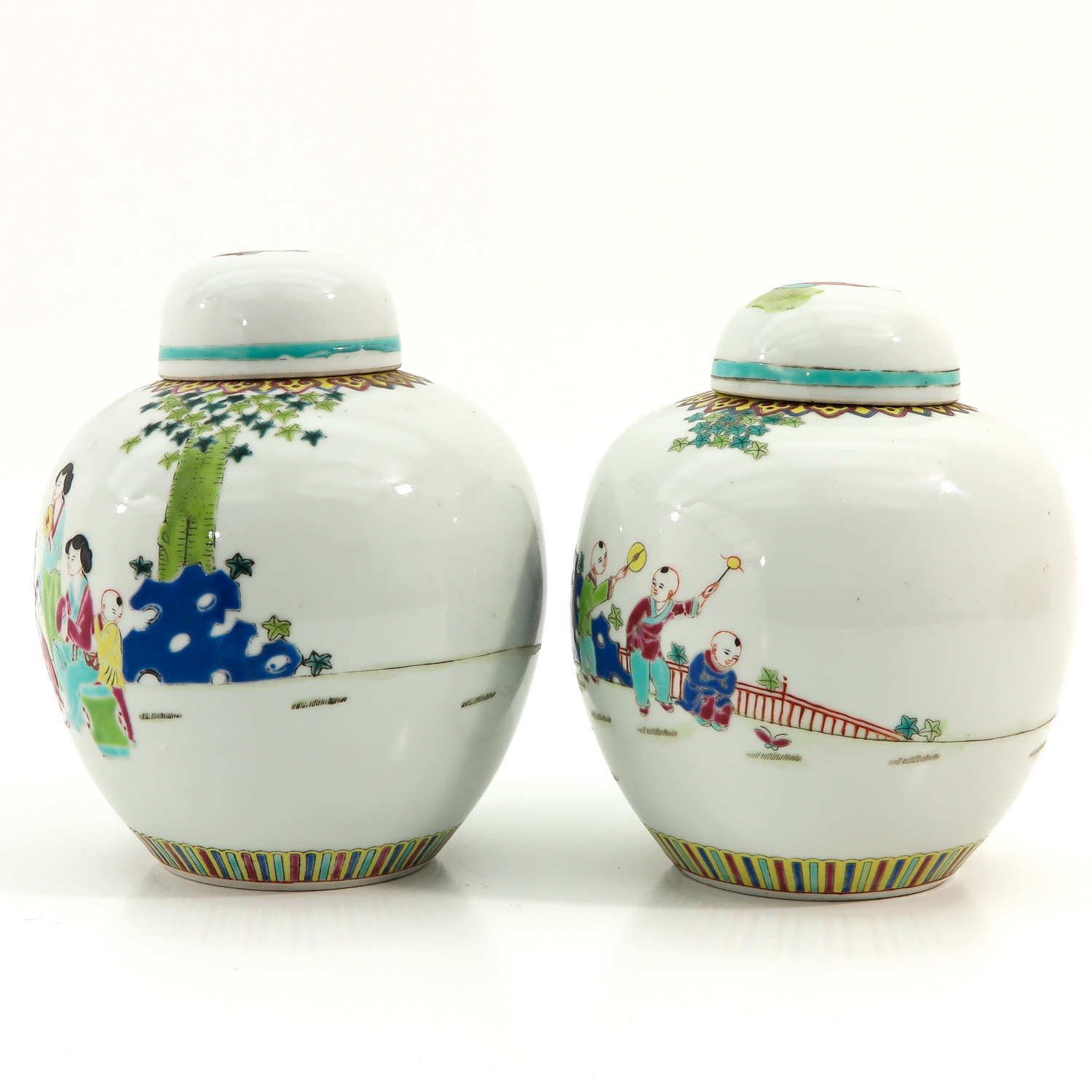 A Pair of Famille Rose Ginger Jars - Image 2 of 9