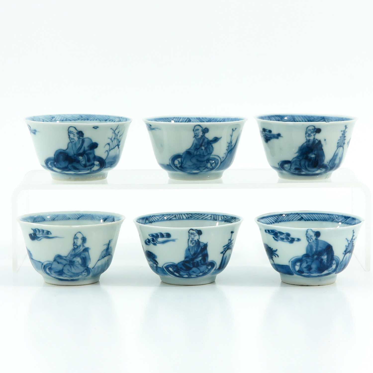 A Series of 6 Blue and White Cups
