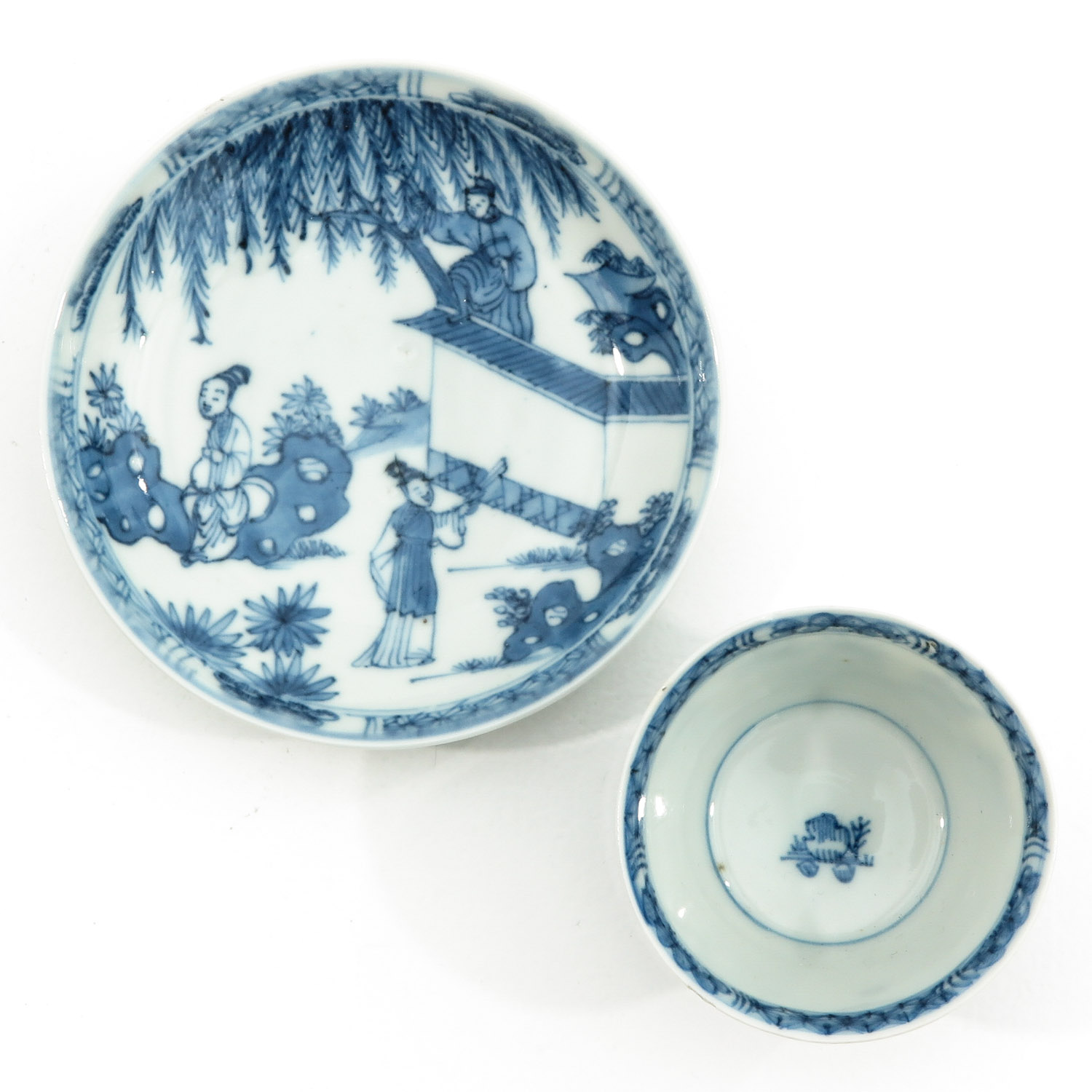 A Blue and White Cup and Saucer - Image 5 of 10