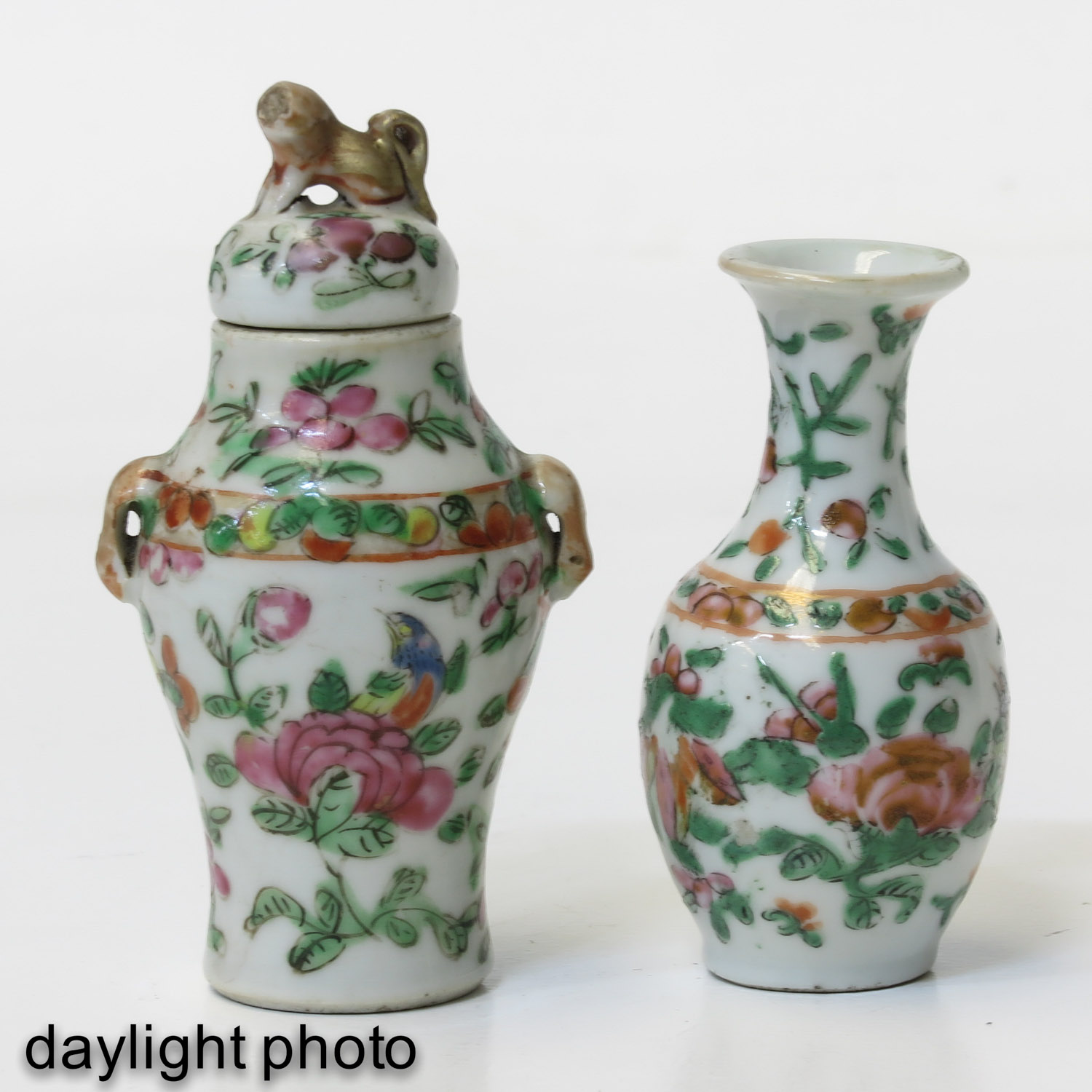 A Cantonese Miniature Garniture Set - Image 7 of 9