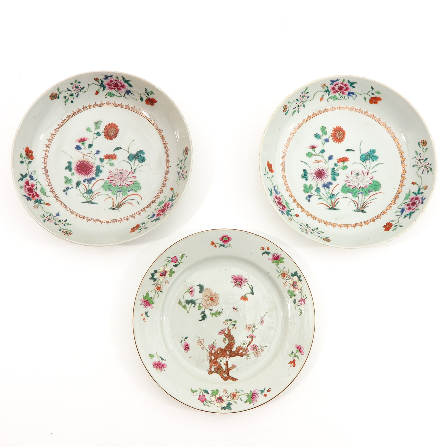 A Collection of 3 Famille Rose Plates