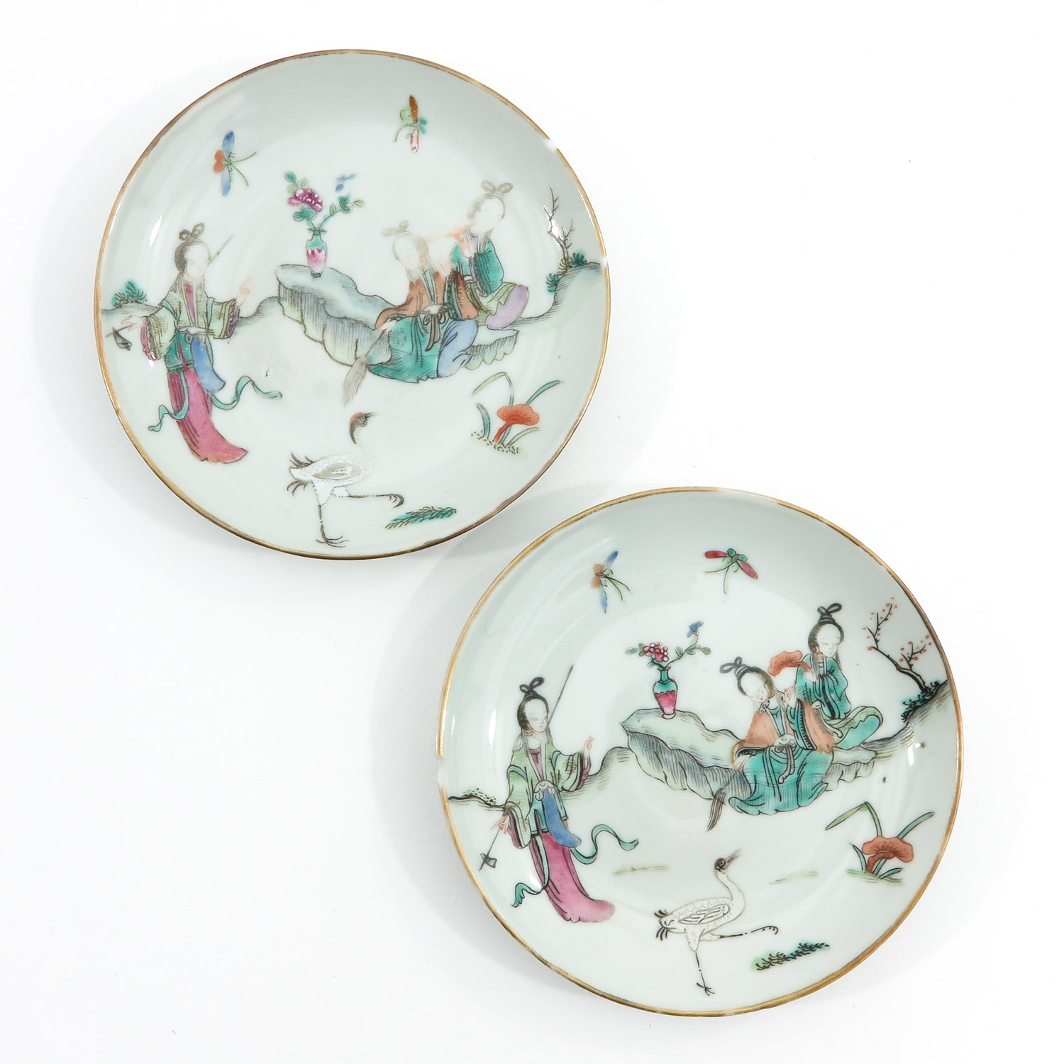 A Pair of Famille Rose Cups and Saucers - Image 7 of 10