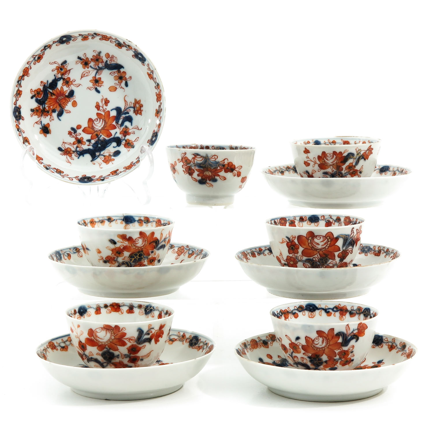 A Collection of Imari Cups and Saucers