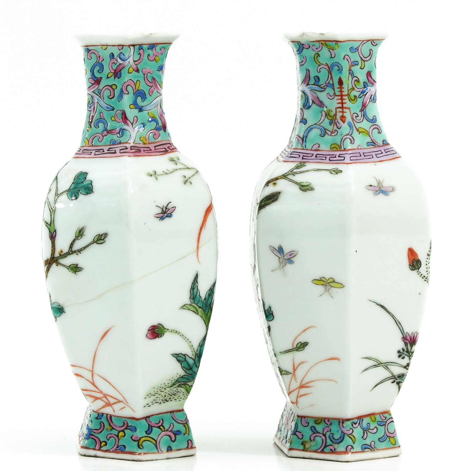 A Pair of Famille Rose Vases - Image 4 of 9
