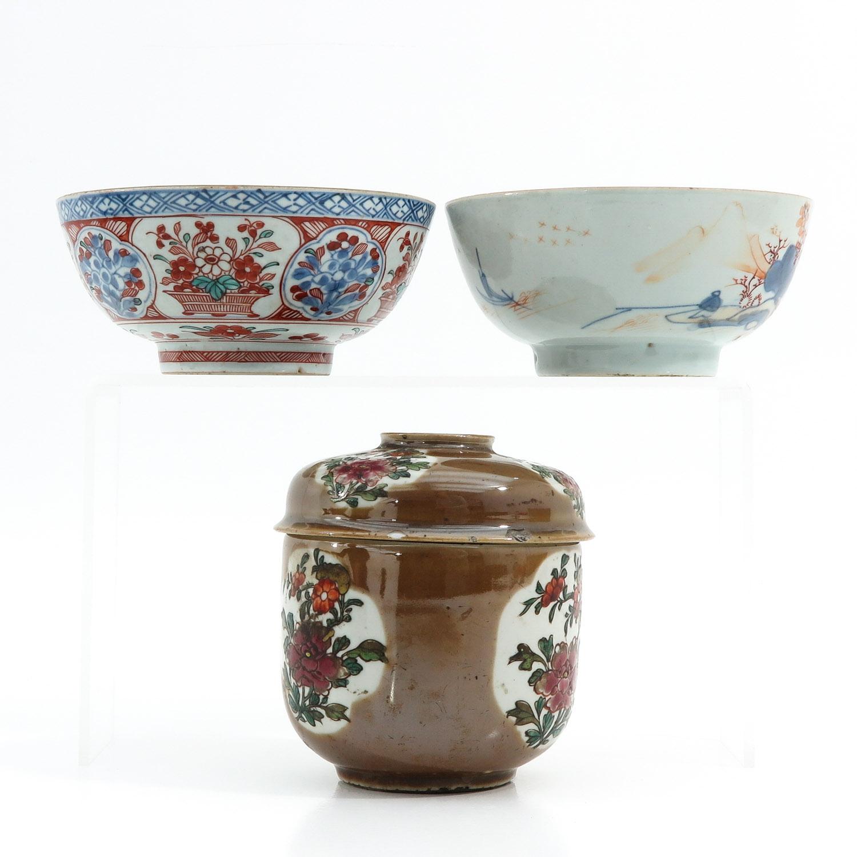 A Batavianware Jar and 2 Bowls - Image 3 of 9