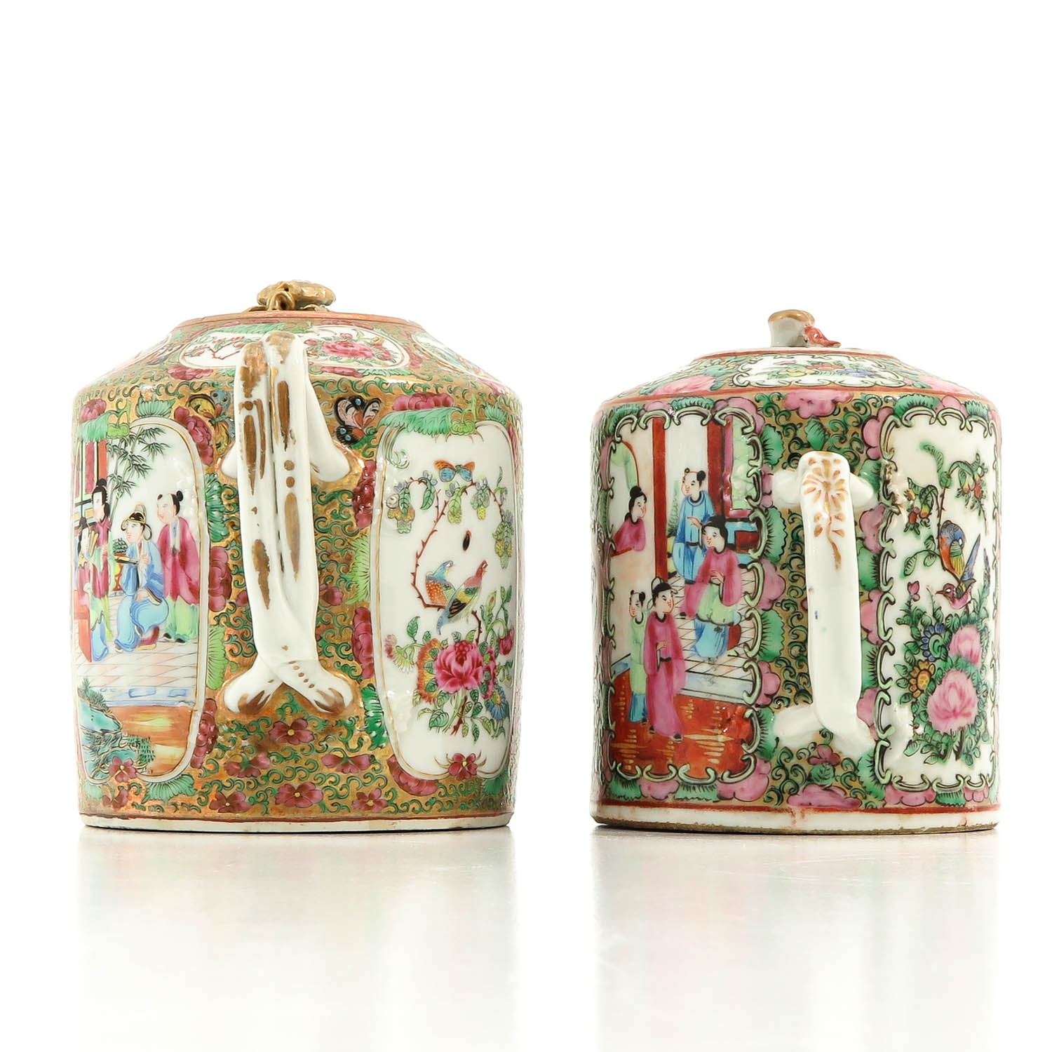 A Lot of 2 Cantonese Teapots - Image 2 of 9