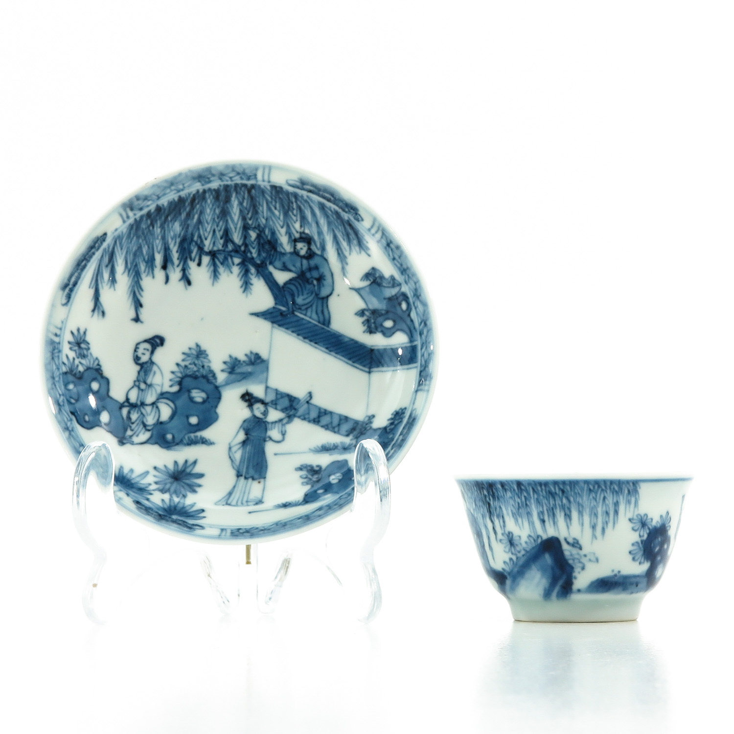 A Blue and White Cup and Saucer - Image 2 of 10