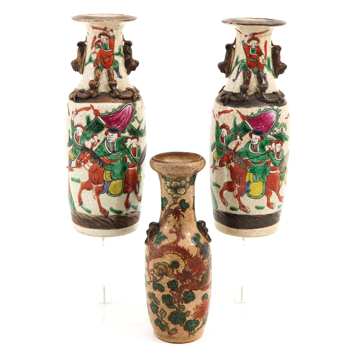 A Collection of 3 Nanking Vases
